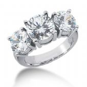 Platinum Diamond Engagement Ring 3 Round Stones Total 5.50 ctw. 1008-ENG3PLT-2456