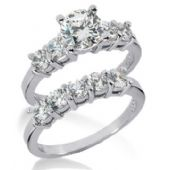 18K Gold Diamond Engagement Bridal Set 2.35ctw. 4007-18KENBR-143