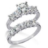 18K Gold Diamond Engagement Bridal Set 2.35ctw. 4007-18KENBR-143