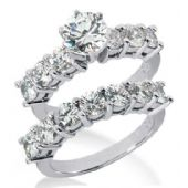 18K Gold Diamond Engagement Bridal Set 3.60ctw. 4008-18KENBR-146