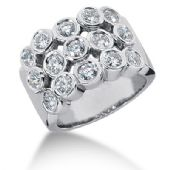 18K Bezel Set Sequenced Round Brilliant Diamond Anniversary Ring (1.5ctw.)