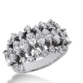 18K Gold Asymmetrical  Marquise and Round Brilliant Diamond Anniversary Ring (3.04ctw)