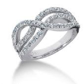 18K Looped Round Brilliant Diamond Anniversary Ring (1.08ctw.)