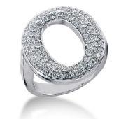 18K 'O' Shaped Round Brilliant Diamond Anniversary Ring (0.86ctw.)