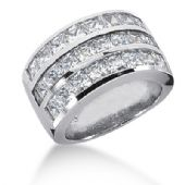 18K Princess Cut Diamonds Channel Set Anniversary Ring (4.08ctw.)
