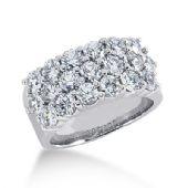18K Three Row Pattrened, Round Brilliant Diamond Ring (2.85 ctw.)