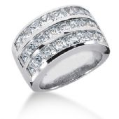 18K White Gold Channel Set Princess Cut Diamond Anniversary Ring (4.43ctw.)