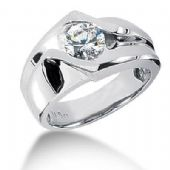Men's Platinum Diamond Ring 1 Round Stone 1.25 ctw 107PLAT-MDR1122