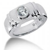 Men's Platinum Diamond Ring 1 Round Stone 111PLAT-MDR1084