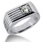 Men's 18K Gold Diamond Ring 1 Round Stone 11318-MDR289