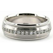 14K Gold 7mm Diamond Wedding Bands Rings 0858