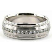 18K Gold 7mm Diamond Wedding Bands Rings 0858