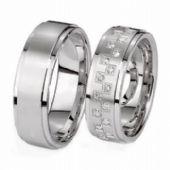 Platinum His & Hers Gold 0.48 ct Diamond 126 Wedding Band Set HH126PLT