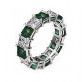 18k Shared Prong 2.70 Carat Emerald & Diamond Eternity Band
