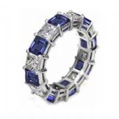 950 Platinum Shared Prong 2.70 Carat Sapphire & Diamond Eternity Band