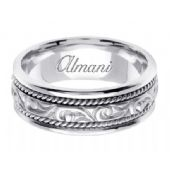 14K Gold 7mm Handmade Wedding Ring 069 Almani