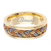 18K Gold 7mm Handmade Tri-Color Wedding Ring 073 Almani