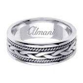 18K Gold 7mm Handmade Wedding Ring 083 Almani