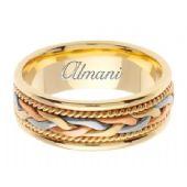 18K Gold 7mm Handmade Tri-Color Wedding Ring 084 Almani
