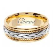 14k Gold 7mm Handmade Two Tone Wedding Ring 085 Almani