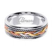 14k Gold 7mm Handmade Tri Color Wedding Ring 086 Almani