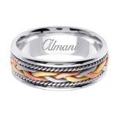 950 Platinum & 18K Gold 7mm Handmade Tri-Color Wedding Ring 086 Almani™