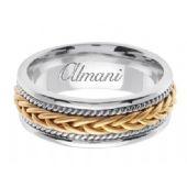 18K Gold 7mm Handmade Two Tone Wedding Ring 090 Almani