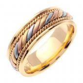 14k Gold 7mm Handmade Tri Color Wedding Ring 093 Almani