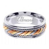 14k Gold 7mm Handmade Tri Color Wedding Ring 094 Almani
