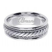 14K Gold 7mm Handmade Wedding Ring 095 Almani