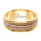 18K Gold 7mm Handmade Tri-Color Wedding Ring 113 Almani