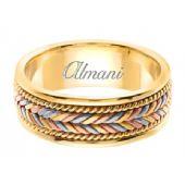 18K Gold 7mm Handmade Tri-Color Wedding Ring 113 Almani