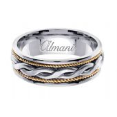 18K Gold 7mm Handmade Two Tone Wedding Ring 116 Almani