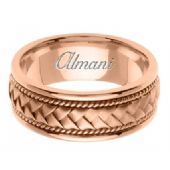 14K Gold 8.5mm Handmade Wedding Ring 040 Almani