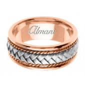 18k Gold 8.5mm Handmade Two Tone Wedding Ring 041 Almani