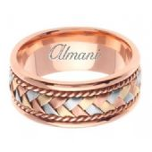 18K Gold 8.5mm Handmade Tri-Color Wedding Ring 042 Almani