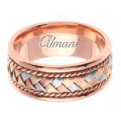 18K Gold 8.5mm Handmade Tri-Color Wedding Ring 042 Almani