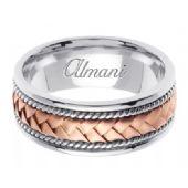 950 Platinum & 18K Gold 8.5mm Handmade Two Tone Wedding Ring 043 Almani