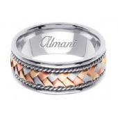 14k Gold 8.5mm Handmade Tri Color Wedding Ring 044 Almani