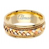 14k Gold 8.5mm Handmade Tri Color Wedding Ring 045 Almani