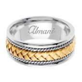 18K Gold 8.5mm Handmade Two-Tone Wedding Ring 046 Almani