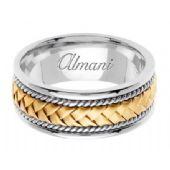 950 Platinum & 18K Gold 8.5mm Handmade Two-Tone Wedding Ring 046 Almani
