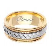 18k Gold 8.5mm Handmade Two-Tone Wedding Ring 047 Almani