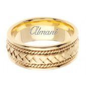 14K Gold 8.5mm Handmade Wedding Ring 048 Almani