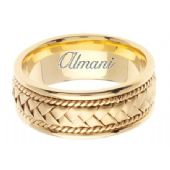 18K Gold 8.5mm Handmade Wedding Ring 048 Almani