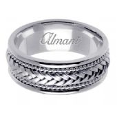 18K Gold 8mm Handmade Wedding Ring 051 Almani