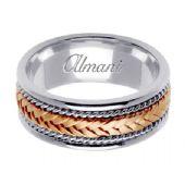 18K Gold 8mm Handmade Two Tone Wedding Ring 052 Almani