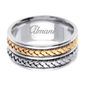 18K Gold 9mm Handmade Two Tone Wedding Ring 061 Almani