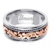 14k Gold 9mm Handmade Two Tone Wedding Ring 062 Almani