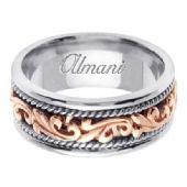 18K Gold 9mm Handmade Two Tone Wedding Ring 062 Almani
